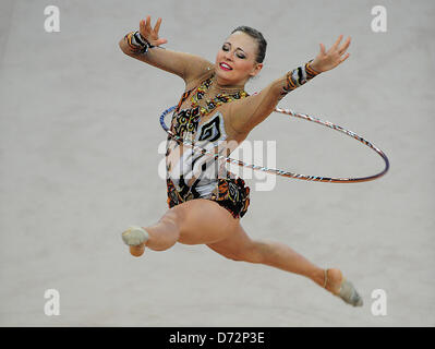 26.04.2013 Pesaro, Italy.  Nicol Ruprecht of Austria during day one of the Rhythmic Gymnastic World Cup Series from - Stock Photo