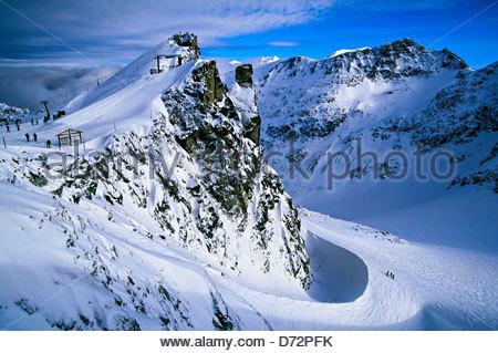 Blackcomb Glacier, Blackcomb Mountain, Whistler Blackcomb ski resort, British Columbia, Canada - Stock Photo