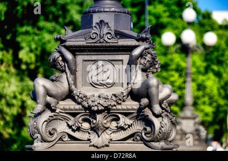 Historical lantern base on the Lombardsbrücke in Hamburg, Germany, Europe - Stock Photo