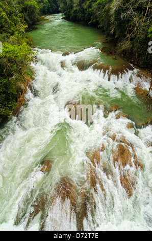 A turbulent river in running through Chiapas in the south of Mexico - Stock Photo
