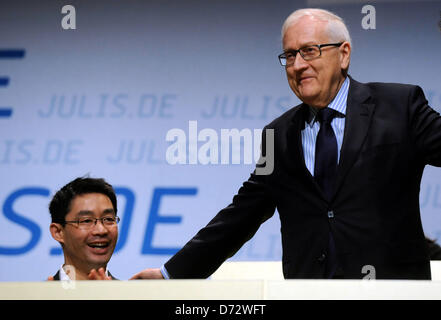 German Economy Minister and FDP party chairman Philipp Roesler (L) and chairman of the FDP Bundestag parliamentary - Stock Photo