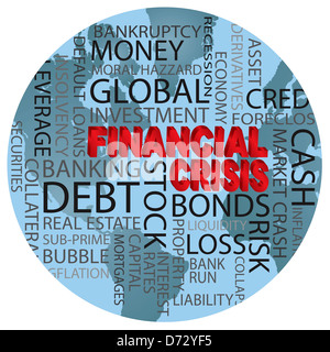 World Financial Crisis 3D in Red Word Cloud Illustration in World Globe Background - Stock Photo