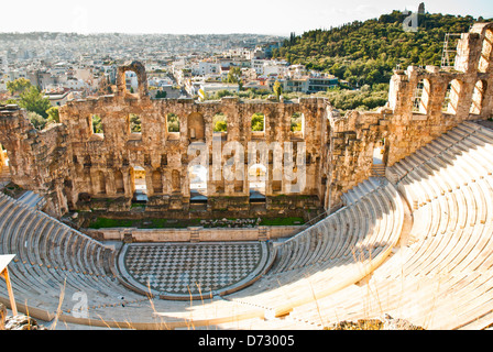 Antique amphitheater  on the Acropole in Greece - Stock Photo