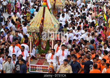 Devotees participate in the annual festival of Lord Jagannath Rath Yatra - Stock Photo