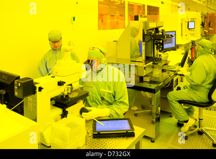 Dortmund, Germany, scientists at iX-factory work in the clean room - Stock Photo