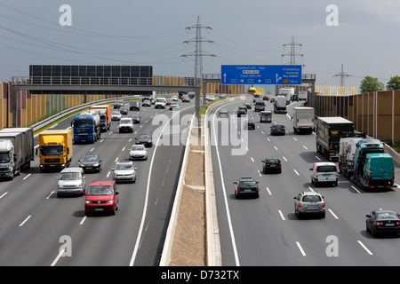 Koeln, Germany, traffic on the A3 motorway, beltway Cologne ' - Stock Photo