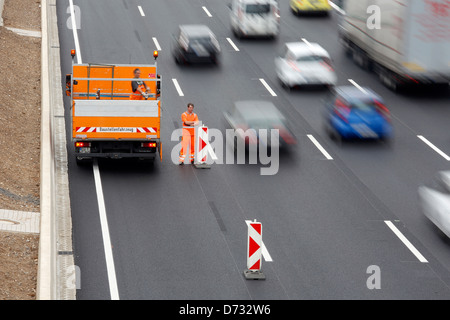 Koeln, Germany, Cologne 'ring road, lifting a highway construction site - Stock Photo