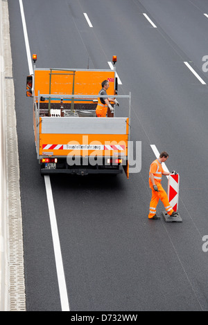 Koeln, Germany, Cologne 'beltway, closing a highway construction site - Stock Photo