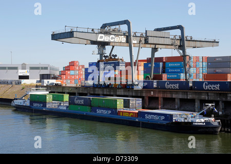 Duisburg, Germany, container terminal in the Port of Duisburg - Stock Photo