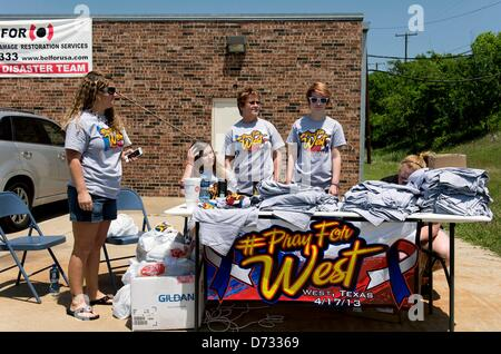 April 27, 2013 - West, Texas, U.S -  T shirts are offered for sale on the day of the funeral procession for Buck - Stock Photo