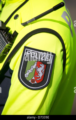 Muenster, Germany, police officer on bicycle patrol - Stock Photo