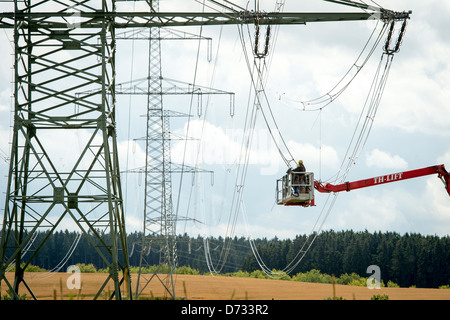 Remptendorf, Germany, new construction of high-voltage lines - Stock Photo
