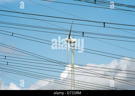Remptendorf, Germany, power lines and wind turbine - Stock Photo