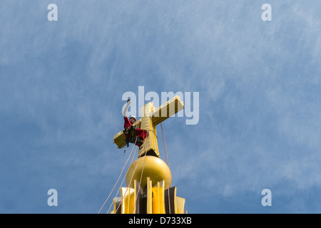 Berlin, Germany, burglar Thomas Michael Cross on dome of the Berlin Cathedral - Stock Photo