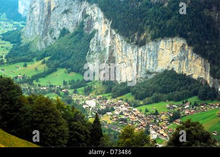 Valley of the Waterfalls, Lauterbrunnen, Switzerland - Stock Photo