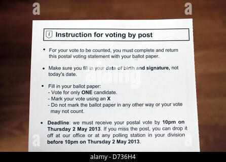 Epsom, Surrey, England, UK.  28th April 2013. If voting by post, completed ballot papers must be delivered to the - Stock Photo