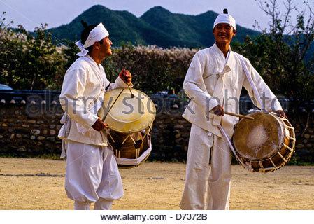 Mask dance drama (Hahoe Pyolshin-guttal-Nori) Hahoe Folk Village, near Andong, South Korea - Stock Photo