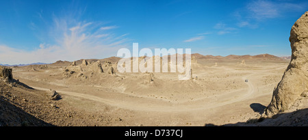 Tufa formations called Trona Pinnacles in the Mojave Desert of California - Stock Photo
