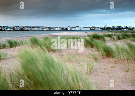 View of Exmouth from Dawlish Warren Point. - Stock Photo