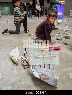 Susan Stockwell's Sail Away project at the Tate Modern as part of the series Hyperlink on 27th and 28th of April. - Stock Photo
