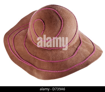 brown broad-brim felt hat isolated on white background - Stock Photo