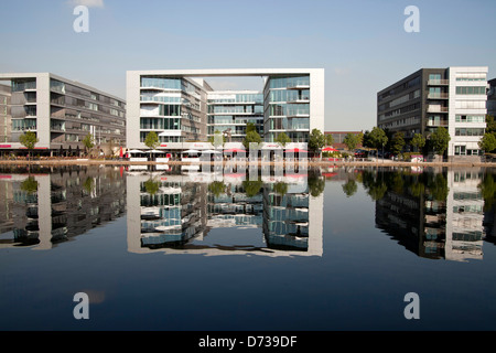 modern architecture at Duisburg Inner Harbour, Duisburg, North Rhine-Westphalia, Germany, Europe - Stock Photo