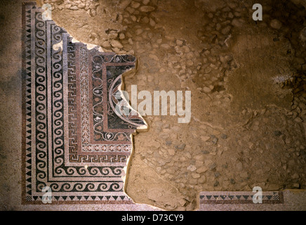 Remain of a Mosaic floor in the Western Palace of Masada ancient fortress on the eastern edge of the Judaean or - Stock Photo
