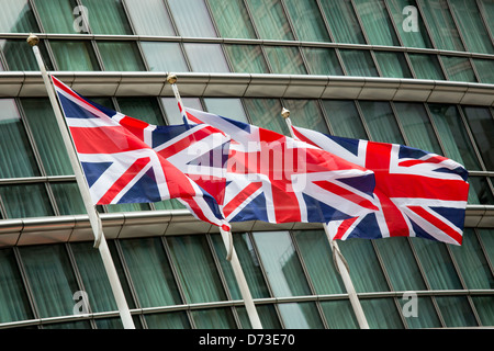 London, Great Britain, the Union Jack at West India Quay - Stock Photo