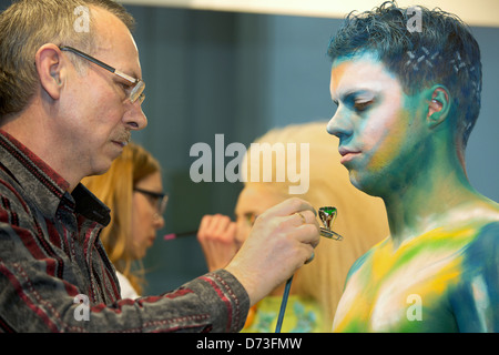 Poznan, Poland, body painting at the fair LOOK / BEAUTY VISION 2013 - Stock Photo