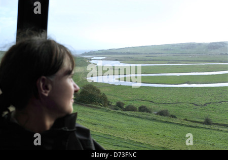 View of the Cuckmere River valley towards Cuckmere Haven from the top deck of a bus on the route between Eastbourne - Stock Photo