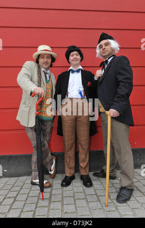 Cosplay cosplayers dressing up Stratford, London, UK. 28th April 2013. Three 'Doctor Whos' at the costume parade. - Stock Photo