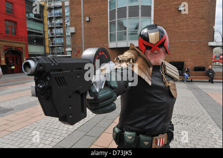 Cosplay cosplayers dressing up Stratford, London, UK. 28th April 2013. 'Judge Dredd' at the costume parade. The - Stock Photo