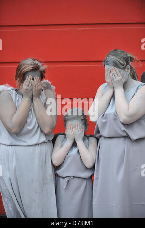 Cosplay cosplayers dressing up Stratford, London, UK. 28th April 2013. Three 'Weeping Angels' from Doctor Who at - Stock Photo
