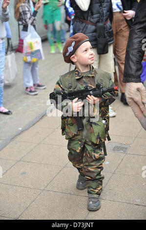 Cosplay cosplayers dressing up Stratford, London, UK. 28th April 2013. small soldier at the costume parade. The - Stock Photo