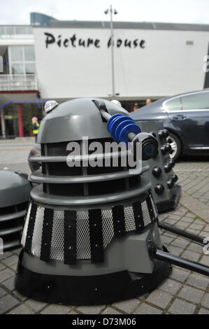 Cosplay cosplayers dressing up Stratford, London, UK. 28th April 2013. A Dalek under construction at the costume - Stock Photo