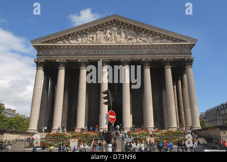 La Madeleine Church in Paris France in the style of a Greek Temple. - Stock Photo