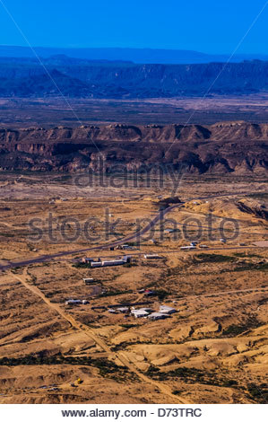 Aerial view over the Chihuahuan Desert, Terlingua Ghosttown near Big Bend National Park, Texas USA. - Stock Photo