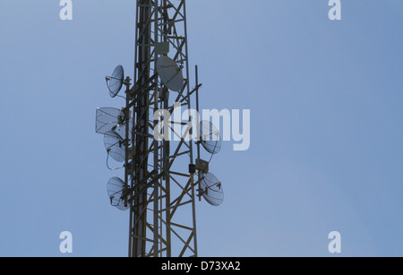 Receiver antennas seen in the Spanish island of Majorca - Stock Photo