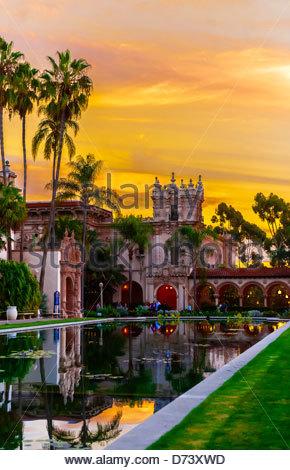 Sunset, Laguna de las Flores, Balboa Park, San Diego, California USA. - Stock Photo