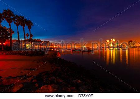 View from Il Fornaio restaurant on Coronado Island across San Diego Bay to Downtown San Diego, California USA. - Stock Photo