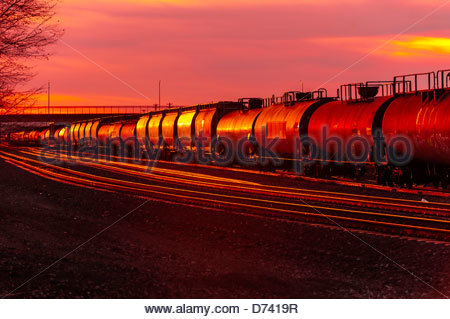 Freight trains, Gallup, New Mexico USA. - Stock Photo