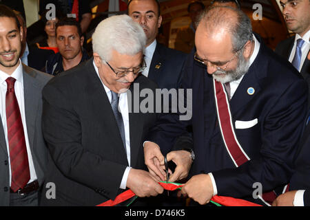 Pompeii, Italy. April 28, 2013. Palestinan President Mahmud Abbasreceives the Mediterranean Award for Peace in Naples, - Stock Photo