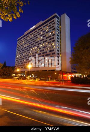 Zagreb, hotel Westin in the night, Croatia - Stock Photo