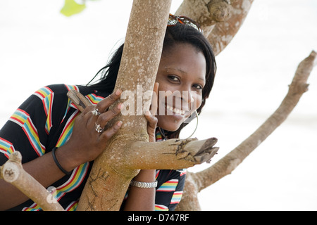 Las Terrenas, Dominican Republic, a local vacationer on the beach - Stock Photo