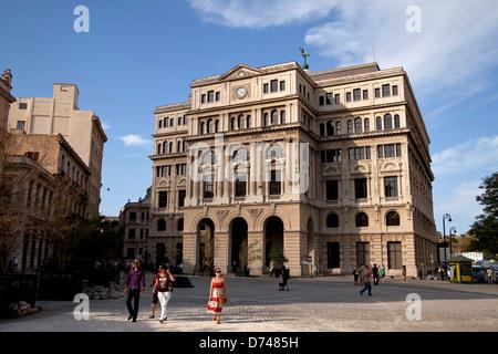 former Havana Stock Exchange or Lonja del Comercio building on Plaza de San Francisco in Havana, Cuba, Caribbean - Stock Photo
