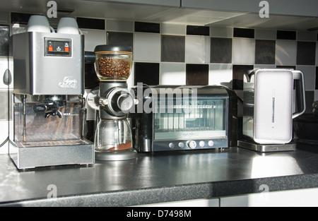 Modern Kitchen · Modern Kitchen Appliances (coffee Machine, Bean Grinder,  Toaster, Kettle) In A