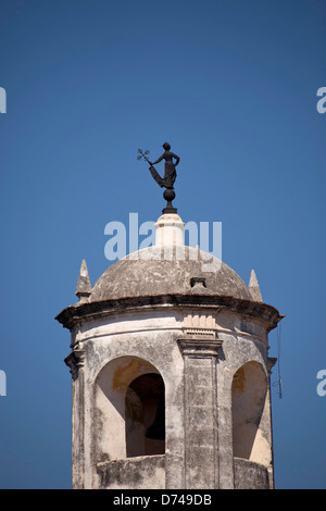 watchtower with weathervane La Giraldilla of the fortress Castillo de la Real Fuerza in the old town of Havana, - Stock Photo