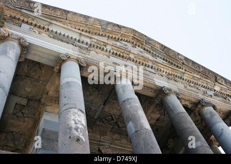 Garni temple in  Armenia. Garni architectural complex established in 3rd century BC. - Stock Photo