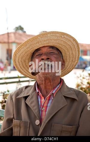 elderly man with cigar in Vinales, Vinales Valley, Pinar del Rio, Cuba, Caribbean - Stock Photo