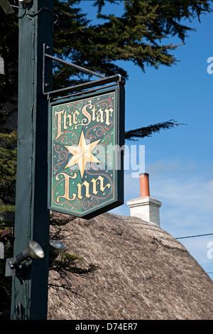 The Star Inn pub sign Harome near Helmsley North Yorkshire England UK United Kingdom GB Great Britain - Stock Photo
